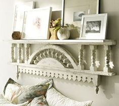 Salvaged architectural pieces/ shelf above bed Salvaged Decor, Repurposed, Shelf Above Bed, Bed Shelves, Modern Outdoor Furniture, My New Room, Decoration, Pottery Barn, Home Furnishings