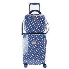 With a classic polka dot pattern with an overall navy hue, you will never lose your luggage while traveling again. Main spinner component comes with right 360 easy-glide spinner wheels for smooth mobility, expandable capacity of up to 30%, and integrated TSA-lock for additional security while traveling. The included beauty case comes with a detachable shoulder strap, interior vanity mirror for spur of the moment touch-ups, and spandex strap to attach beauty case to spinner handle. Carry On Suitcase, Carry On Luggage, Luggage Bags, Luggage Sets Cute, Hardside Luggage Sets, We Carry On, Beauty Case, Clear Bags, Park Avenue