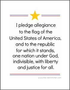 The Pledge of Allegiance (Free printables for home and classroom use!)    www.the-red-kitchen.com