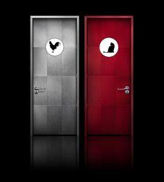 Little boys girls restroom bathroom door sign custom vinyl decal sticker sign set via for Boy and girl bathroom door signs
