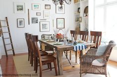 my vision for the dining room sans the cluttered walls, and reclaimed table