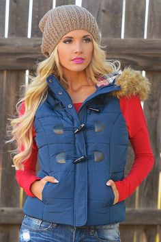 Dare To Dream Puffer Vest - Navy from Closet Candy Boutique