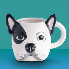 French Bulldog Head Ceramic Mug Yellow Octopus, Ceramic Cups, Pen Holders, 3d Design, French Bulldog, Dog Lovers, Best Friends, Hand Painted, Ceramics
