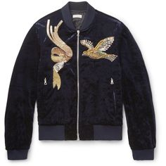 Dries Van Noten Embroidered Velvet Bomber Jacket ($1,295) ❤ liked on Polyvore featuring men's fashion, men's clothing, men's outerwear, men's jackets and jackets