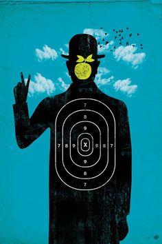 Hipster Magritte on target. Copyright @Dan Uyemura Fajardo aka Dandingeros  #art #design #poster