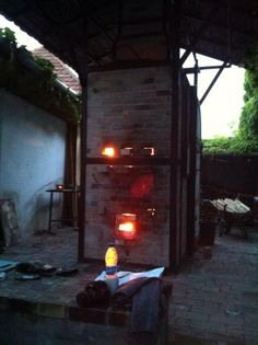 """Patricia Shone Ceramics wood-fired kiln, France.  """"Like"""" her on Facebook and you might win one of her wonderful teabowls!"""