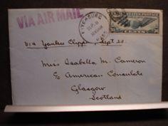 YANKEE CLIPPER to CONSULATE, GLASGOW, SCOTLAND Postal Cover 1939 w/ letter