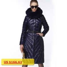 2017 high-end down jackets for women luxury Large Natural fox fur collar female Fashion Slim knee length down Coats with sashes