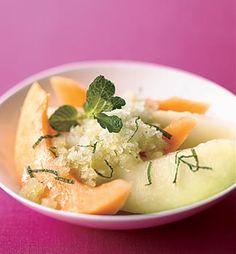 Summer Melon with Basil-Mint Granita Recipe at Epicurious.com