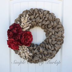 Stunning Christmas burlap wreath accented by SimpleCountryBurlap