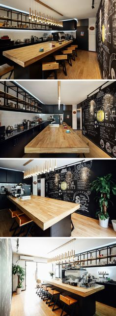 The black and bamboo theme has been carried throughout the interior of this modern coffee shop, with a thick wood countertop and wood floors / seating. Matte black cabinets and shelving compliment the black chalkboard wall on the other side of the bar. #CoffeeShop #Cafe #ModernCoffeeShop #RetailDesign #InteriorDesign