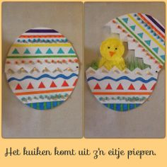 Maak een paasei, knip het doormidden en maak je eigen kuikentje in het gras dat komt piepen als het ei open gaat! Beide helften van het ei vastmaken met een splitpen.