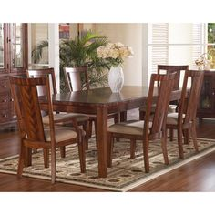 @Overstock.com - Somerton Runway 7-piece Dining Set - This exciting contemporary collection represents the artistic skill of veneering, combining rich prima vera and zebrano. A warm chestnut brown satin finish in varying medium and dark brown hues complete the look.  http://www.overstock.com/Home-Garden/Somerton-Runway-7-piece-Dining-Set/7975123/product.html?CID=214117 $1,372.95