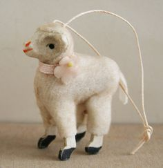Vintage Putz Style Wooly Lamb Spring Ornament by juliecollings