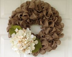 Beautiful and full Tan burlap wreath by SimpleCountryBurlap