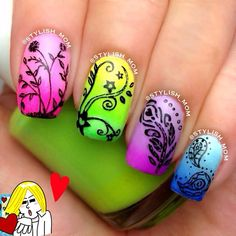Cool nail art design <3<3<3 LOVE THE NEON HUES - THE DESIGN JUST POPS AGAINST THEM<3<3<3