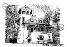 Architecture Romania c. by dedeyutza on DeviantArt Roman Architecture, Historical Architecture, Architecture Design, Architecture Drawings, Moleskine, Falling Water House, House Sketch, City Sketch, Walter Gropius
