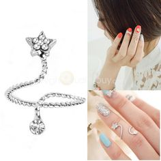 Anillo #Espiral #Estrella Midi Dedo Arriba Nudillo Cristal Diamante Imitación