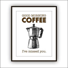 Coffee Art Print Poster Moka Pot Kitchen Art by DoodleGraphics