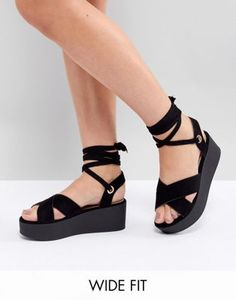4cbf3787fa74 Image 1 of RAID Wide Fit Alma Black Flatform Ankle Tie Sandals Shoe Game