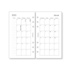 Calendar Inserts Monthly Overview Personal / Planner Inserts Monthly / for Organizer Filofax Websters Pages Calendar 2020 2021 Kikki K, Filofax Personal, 1 Monat, Websters Pages, Planner Book, Fine Paper, Calendar 2020, Paper Punch, Planner Inserts