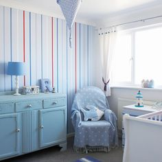 Blue striped nursery room | Traditional decorating ideas | Style at Home | Housetohome.co.uk