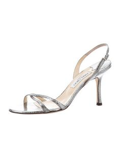 6a450895125d Silver-tone metallic watersnake Jimmy Choo slingback sandals with covered  heels and buckle closures at ankles.