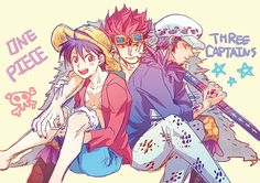 Monkey D. Luffy, Eustass Kid and Trafalgar Law
