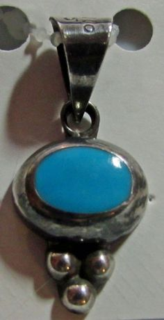 Sterling Silver Turquoise Pendant Inlay Oval Drop  Beads Mexico Mexican 925