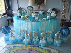Comunione Ernesto Baby Shower Parties, Baby Boy Shower, Arch Decoration, Royal Baby Showers, Balloon Arrangements, Seaside Decor, Balloon Decorations Party, Flower Crafts, 1st Birthday Parties