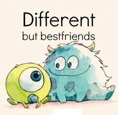 different but best friend disney pixar monsters inc Art Disney, Disney Love, Disney Magic, Disney Pens, Mike And Sulley, Mike Wazowski, Disney And Dreamworks, Disney Pixar, Disney Characters