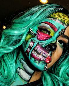 Swarovski inspired pop art zombie #Swarovski #bling #makeup #popartzombie #zombie #glam #pretty #makeupideas #halloween Amazing Halloween Makeup, Cool Halloween Makeup, Halloween Fashion, Halloween Looks, Halloween Eyes, Halloween Stuff, Halloween Party, Halloween Costumes, Creepy Makeup