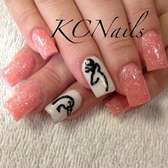 Browning and Ducks Unlimited acrylic nails. Coral and white with hand painted details  KCNails