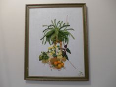 Potted Plants and Flowers Vintage Framed Crewel by ZeeJunkHunter, $28.00