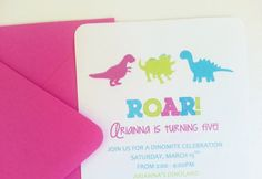 Girl Dinosaur Birthday Party Invitations - SET OF 12