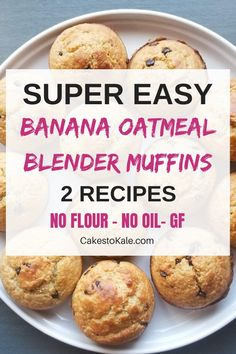 Healthy banana oatmeal muffins are super easy made in the blender. These muffins can be made 2 ways, chocolate chip or cinnamon. Perfect healthy snack or breakfast. Gluten free muffins, flourless and oil free. These muffins are the perfect snack for kids. Healthy Breakfast Muffins, Best Breakfast, Breakfast Recipes, Healthy Muffins For Kids, Grab And Go Breakfast, Brunch Recipes, Banana Oatmeal Muffins, Chocolate Muffins, Flourless Chocolate
