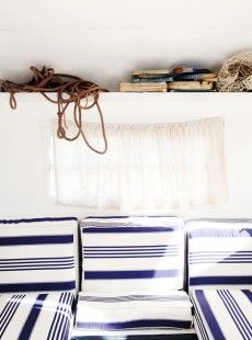 home sweet home, blue and white on a sailboat http://www.sailboat-interiors.com/ http://www.sailboat-interiors.com/store