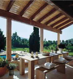 Home Renovation Outdoor House Tour-Sitting High in the Hills of the Island of Mallorca - High in the Hills of the Island of Mallorca Spanish Style Homes, Spanish House, Comedor Office, Pergola Patio, Backyard, Pergola Ideas, Roof Design, House Design, Mediterranean Living Rooms