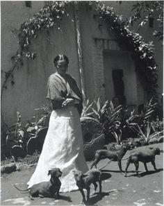 Gisèle Freund, Frida Kahlo et ses chiens, Mexico City, 1948
