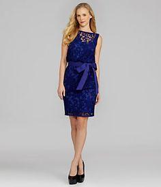Tadashi Tie-Sash Lace Dress | Dillard's Mobile