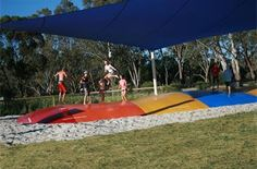 jumping pillow - Deniliquin caravan and cabin accommodation family activities Holiday Park, Family Activities, Caravan, Kangaroo, Things That Bounce, Parks, Jumper, Tourism, Scenery
