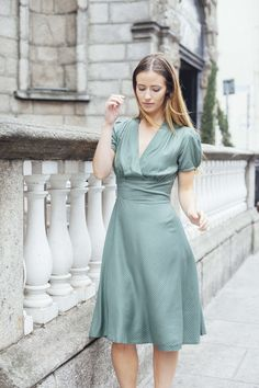 The gorgeous inspired, wrap front Stella dress, with a high waistline and A-line skirt, is perfect for all occasions! Vintage Inspired Outfits, Vintage Style Outfits, Vintage Dresses, Vintage Fashion, Good Earth India, Irish Design, Made Clothing, A Line Skirts, Wrap Dress