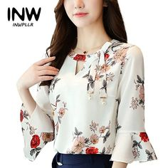 2017 New Summer Autumn Blouse Women Tops Floral Print Shirts Elegant Three Quarter Flare Sleeves Chiffon Blusas New flower printing Women Blouses shirt flare Sleeve Chiffon women's clothing casual V Collar bow women tops Blusas P Blouse Styles, Blouse Designs, Floral Print Shirt, Shirt Blouses, Chiffon Blouses, Chiffon Shirt, Blouses For Women, Floral Tops, Fashion Outfits