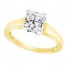 1.50 Ct Princess Cut D/VVS1 14K Yellow Gold Over Solitaire Engagement Ring # Free Stud Earring by JewelryHub on Opensky
