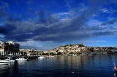 When the sun is going down at Kavala port Jpg, Greek Islands, New York Skyline, Greece, Autumn, Photo And Video, Travel, Greek Isles, Greece Country