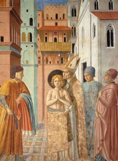 BENOZZO GOZZOLI (1421 - 1497) - St. Francis of Assisi - Renunciation of Worldly Goods and The Bishop of Assisi Dresses St. Francis (detail). 1452. Fresco. 260 x 220 cm. San Francesco, Montefalco, Italy.