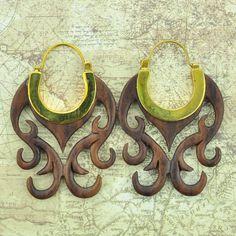 Brass Earrings Hangers with Narra Wood