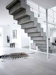 Ideas Concrete Stairs Lighting Loft For 2019 Concrete Staircase, Tile Stairs, House Stairs, Open Stairs, Floating Stairs, White Concrete, Polished Concrete, Stairs Architecture, Architecture Design