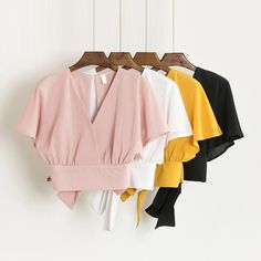 Summer V-neck Shirts Backless Bowtie Lace Up Chiffon Blouses High Waist Short Batwing Sleeved Sexy Tank Tops 2018 Spring Estilo Unisex, Korean Blouse, Neck Shirt, Backless Shirt, Chiffon Shirt, Chiffon Blouses, Batwing Sleeve, High Waisted Shorts, Fashion Outfits