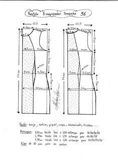 Esquema de modelagem de vestido tubinho que afina a silhueta tamanho 36.